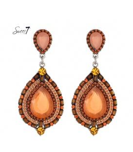 Oranje oorbellen met ovale hanger en kraaltjes en stenen