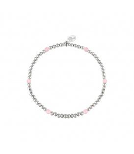 Elastische armband met zilverkleurige kralen en zes roze kralen