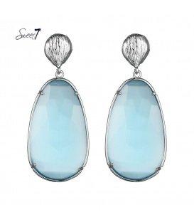 Blauwe oorbellen met een cat eye stenen hanger