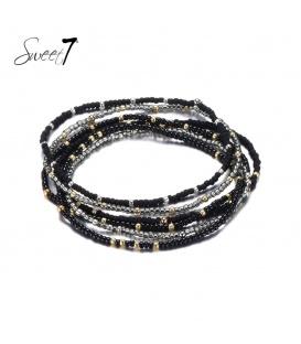 Wikkelarmband met zwarte en grijze kralen