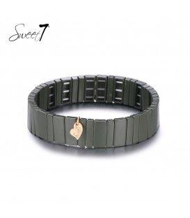 Brede armband met groene rechthoekige kralen (plussize)