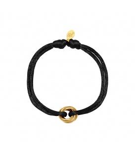 Zwarte satijnen armband met goudkleurig clipdetail