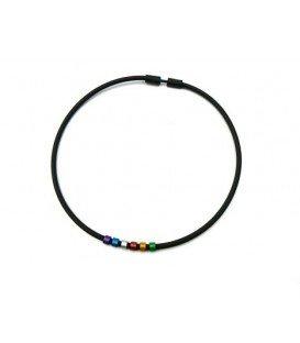 Zwart met gekleurde kralen halsketting van Tjonge Jonge