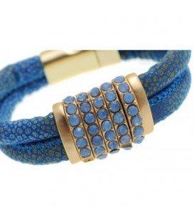 Blauwe armband met magneetsluiting en strass steentjes