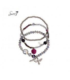 Set van drie armbanden met paarse kralen en bedeltjes