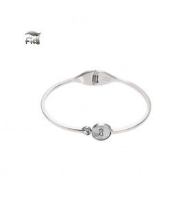 Zilverkleurige spang armband met cirkel en een steentje