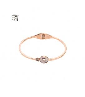 Roségoudkleurige spang armband met uitgesneden hart en een klein steentje