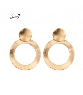 Goudkleurige ronde oorbellen van dun metaal