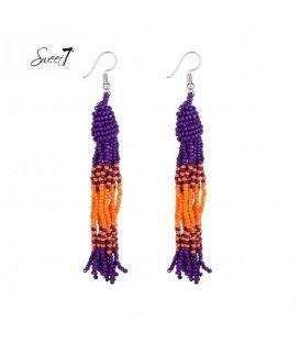 Lange oorbellen met paarse en oranje kraaltjes
