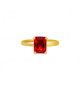 Goudkleurige ring met rode vierkante steen (18)