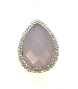 Roze oorclips met een zilverkleurige rand