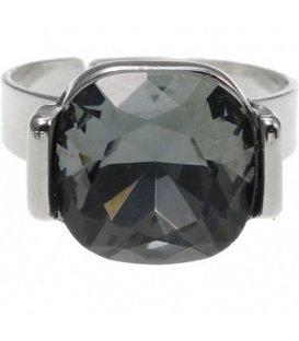 Verstelbare zilverkleurige ring met vierkante grijze steen