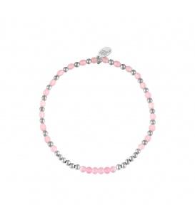 Elastische armband met zilverkleurige en roze kraaltjes
