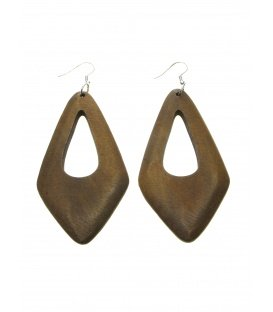 Lichtbruine langwerpige houten oorbellen