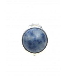 Ronde oorclips van blauwe natuursteen