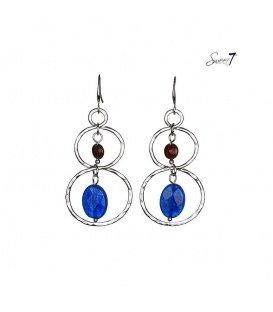 Zilverkleurige oorbellen met blauwe en bruine steen