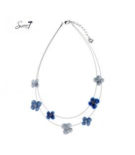Zilverkleurige tweelaagse ketting met blauwe bloemen