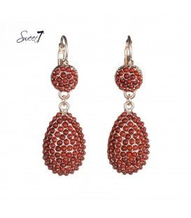 Goudkleurige oorbellen met rode steentjes