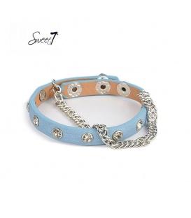 Armband van blauw imitatieleer met zilverkleurige schakels