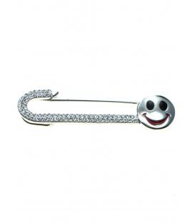 Mooie sjaalspeld, veiligheidsspeld met strass steentjes en smiley