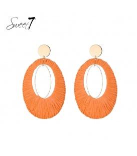 Oranje ovale oorbellen van raffia