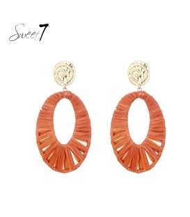 Oorknopjes met oranje hanger