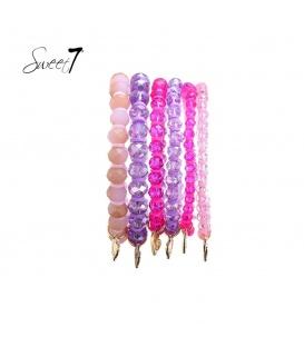 Armbanden met paarse en roze kralen