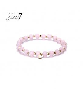 Elastische armband met ronde roze kralen en kleine kraaltjes