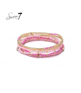 Wikkelarmband met roze en goudkleurige kraaltjes