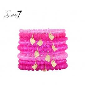 Armbanden met roze kralen (plussize)