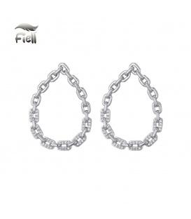 Zilverkleurige oorstekers met ovale hanger van schakels met steentjes