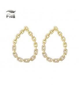 Goudkleurige oorstekers met ovale hanger met schakels en steentjes