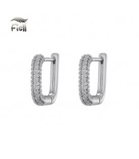 Zilverkleurige vierkante oorstekers met steentjes