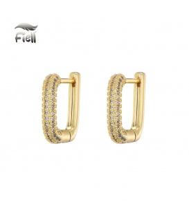 Goudkleurige vierkante oorstekers met steentjes