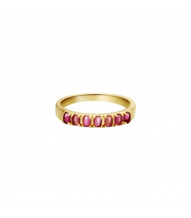 Goudkleurige ring met rode steentjes (18)