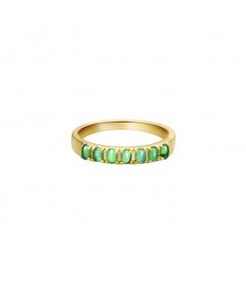 Goudkleurige ring met groene steentjes (18)