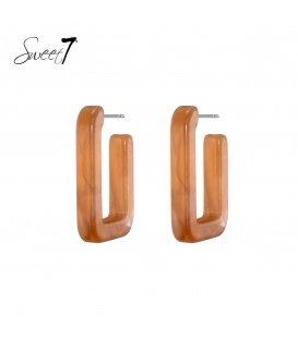 Bruine vierkante oorstekers