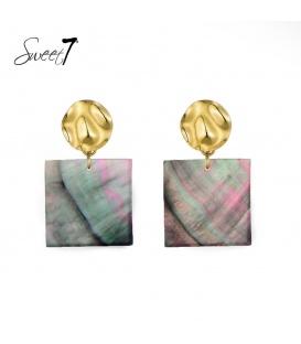 Goudkleurige oorbellen met een vierkante gekleurde hanger