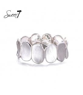 Zilverkleurige elastische armband van ovale delen