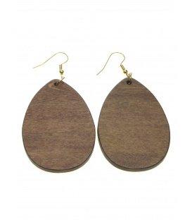 Houten ovale bruine oorhanger