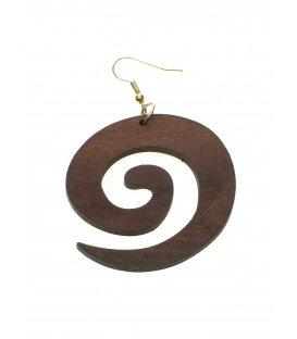 Houten bruine oorbellen in ronde spiraal vorm