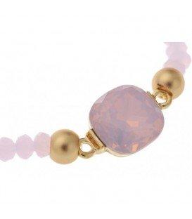 Roze armband met goudkleurige accenten en facet kralen