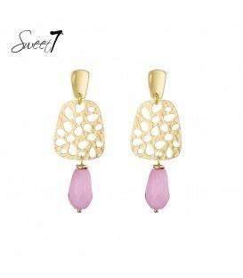 Goudkleurige oorhangers met roze kraal en goudkleurig oorstukje