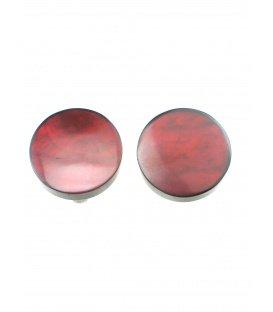 Oorclips met donkerrode kleur en parelmoer inleg