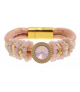 Roze armband met zilvergrijze band en kralen
