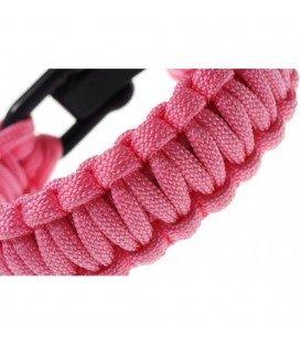 Roze armband van gevlochten parakoord
