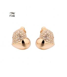 Rosè gold oorclips met strass steentjes