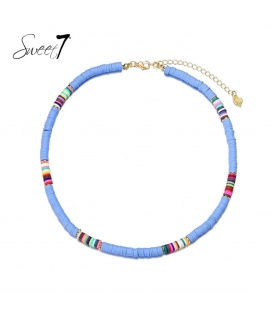 Blauwe halsketting van platte kralen