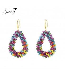 Gekleurde kralen oorbellen met een ovale hanger