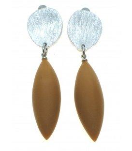 Culture Mix oorclips met bruine hanger en zilverkleurige clip